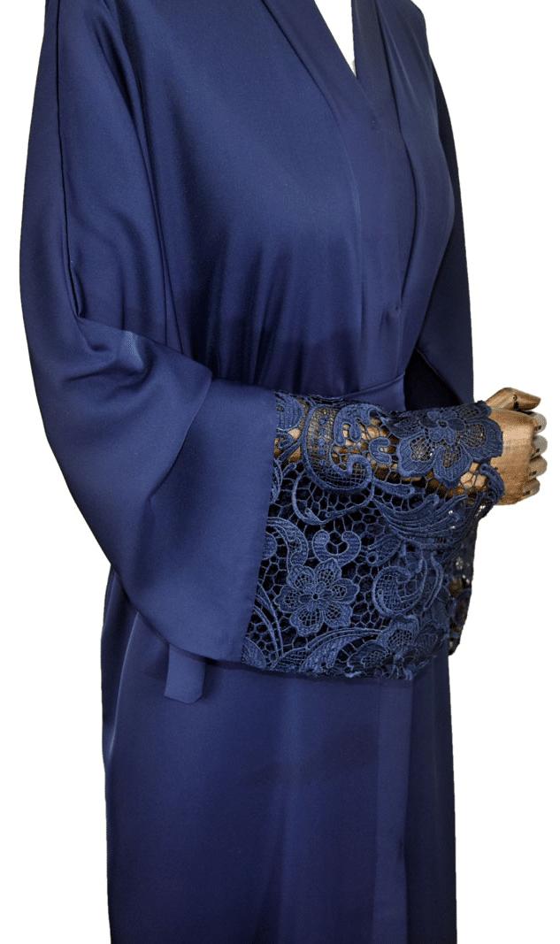 ABAYA KIMONO BLEUE DENTELLE Ma-Abaya