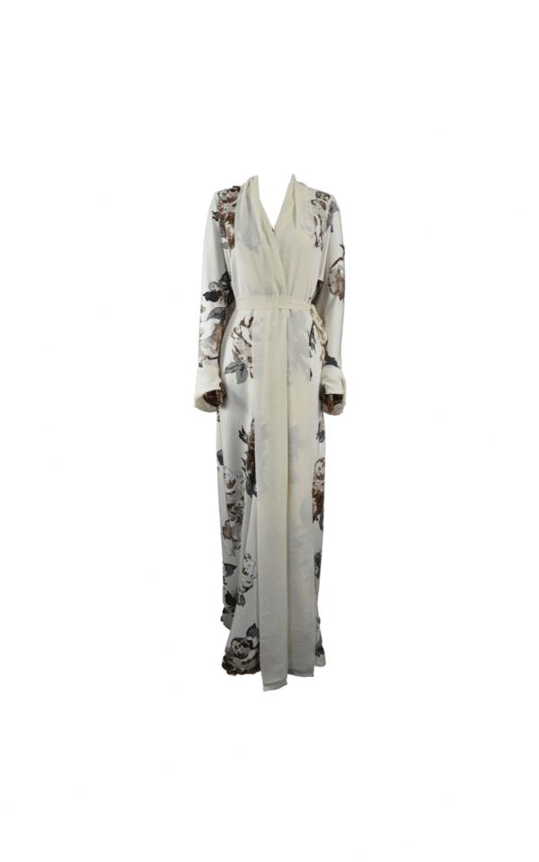 Abaya-Kimono-Fleurie-Crème Ma-Abaya